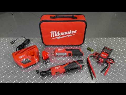 Milwaukee M12 Cordless Automotive Ratchet Kit - 3/8in. Ratchet, Flashlight, Auto Voltage/Continuity