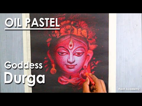 Oil Pastel Drawing : A Composition on Goddess Durga | Face Drawing