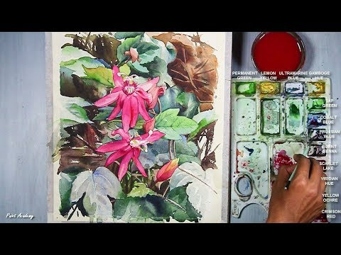 Beautiful Watercolor Flower Painting with Leaves Time lapse Video