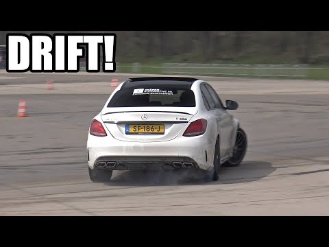 Mercedes-AMG C63S DRIFTING ON WET TRACK!