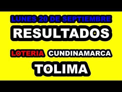 Resultados Lotería de CUNDINAMARCA y TOLIMA Lunes 20 de Septiembre de 2021   PREMIO MAYOR