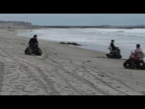 Action Trackchair on the beach in California