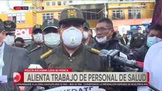 La Policía boliviana alentó el trabajo del personal de salud en La Paz