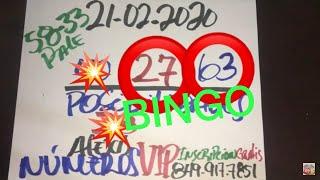 NÚMEROS PARA HOY 21 DE FEBRERO DEL AÑO 2020 - PARA ROMPER BANCAS.