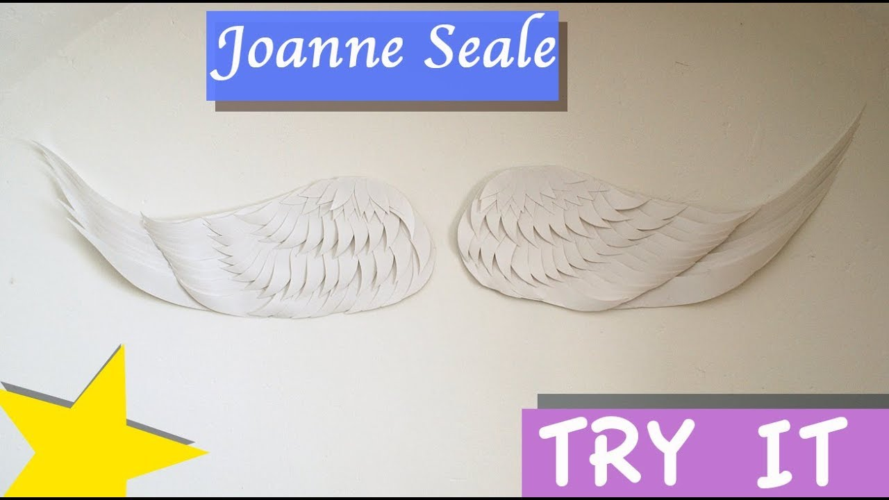 Tutorial - Paper cut wing wall art part 2 - Attaching the feathers