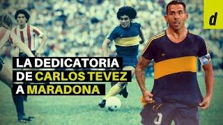 La emotiva dedicatoria de Tevez con una camiseta histórica de Boca de Diego Maradona