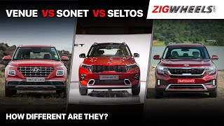 🚙 Kia Sonet vs Hyundai Venue vs Kia Seltos: One To Rule Them All?