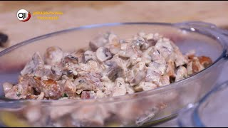 Receta Ají: Medallones de pollo con salsa blanca con mejillones y chorizos, puré de zapallo y papa