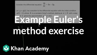 Example Euler's method exercise