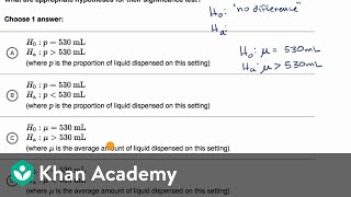 Examples of null and alternative hypotheses