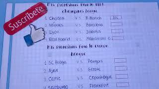 MIS PRONÓSTICOS PARA LA UEFA CHAMPIONS LEAGUE Y EUROPA LEGUE.