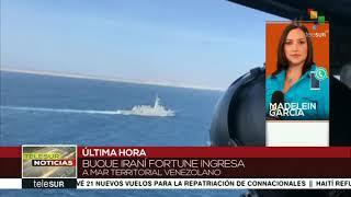 Madelein García de Telesur informa de la llegada del buque iraní Fortune a aguas venezolanas