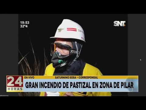 Gran incendio de pastizal en zona de Pilar