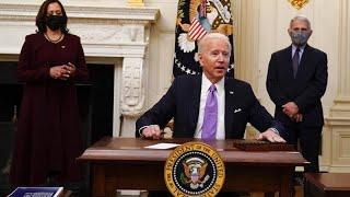 US President Joe Biden signs executive orders to kick-start economic recovery