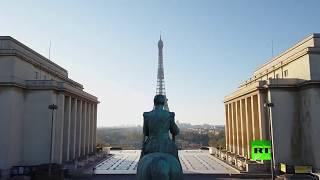 طائرة دون طيار تصور معالم باريس في زمن كورونا