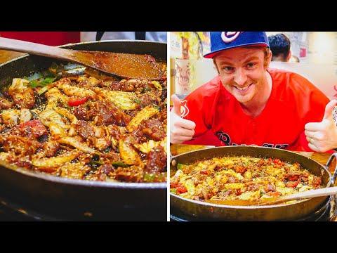 DAKGALBI (닭갈비) - Eating Super SPICY KOREAN BARBECUE CHICKEN in Busan, Korea