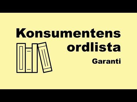 Konsumentens ordlista - garanti