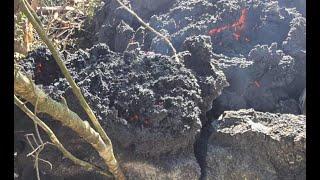 Sector El Playón en San Vicente Pacaya se ve afectado por el avance del flujo de lava