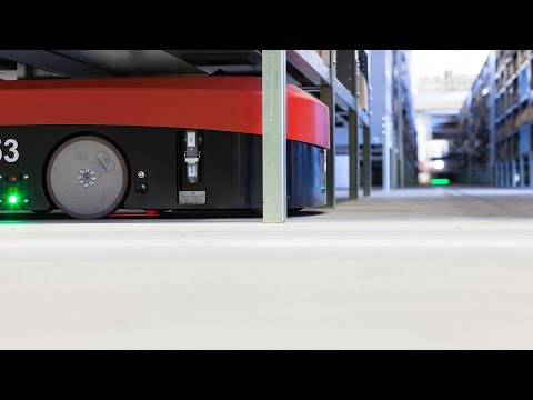 360° at DB Schenker - see racks on robots (part 1 from below)!