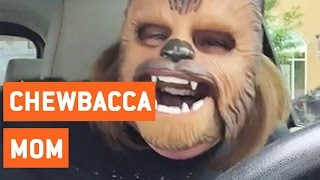 Mom Laughing At Chewbacca Mask For Birthday