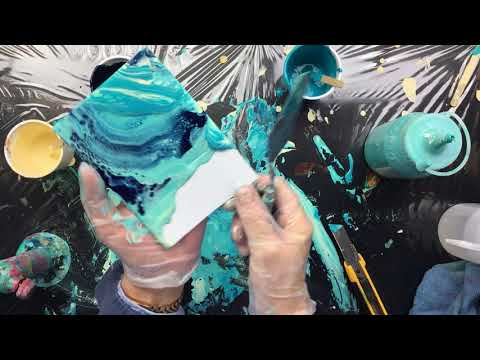 ( 652 ) Acrylic pouring playing with drip off.