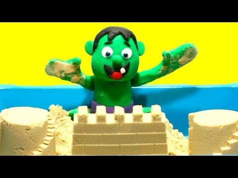 connectYoutube - Baby Hulk Stop Motion Superhero Muscular body the sand Play Doh Cartoon video