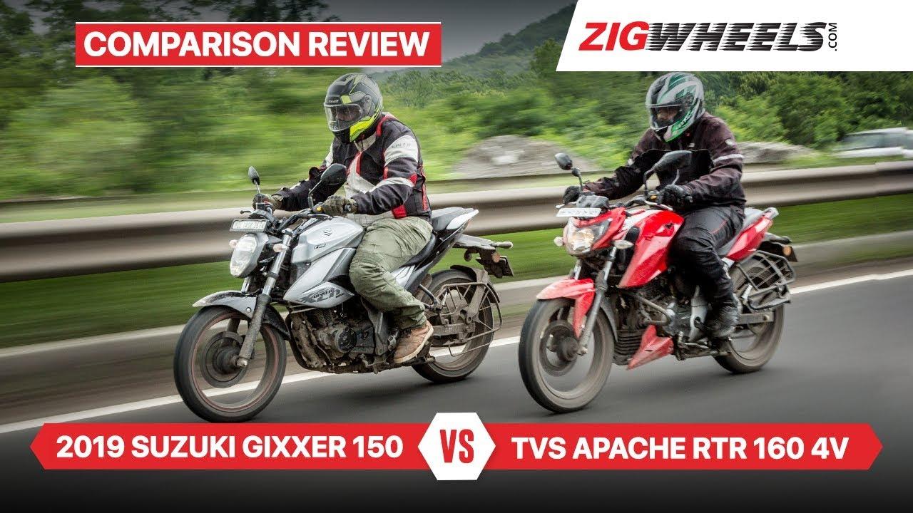 Suzuki Gixxer 2019 vs TVS Apache RTR 160 4V & Performance, Fuel-efficiency & More
