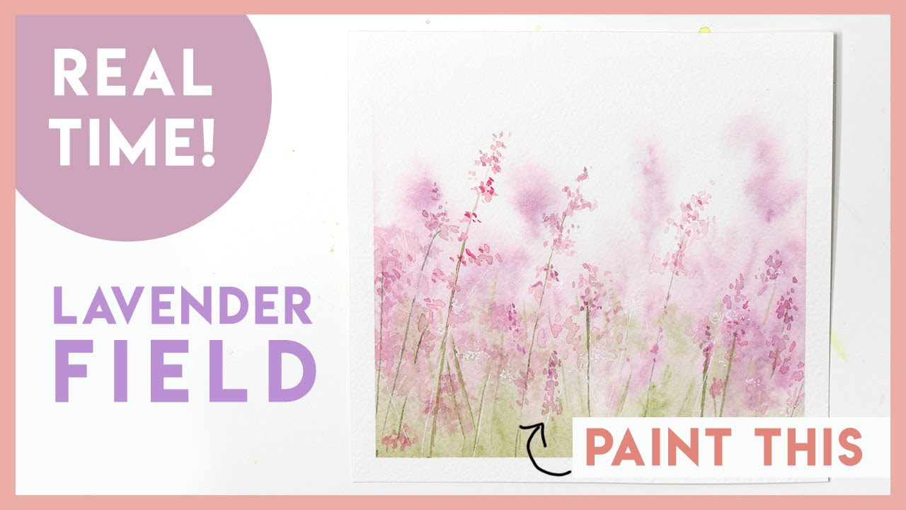 Lavender Field REAL TIME Landscape Watercolour Painting