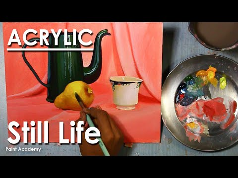 Acrylic Painting : Still Life Composition | Jug, Cup & Fruit