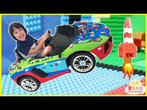 Family Fun Mayka Toy Block Tape Challenge! Kids Pretend Playtime with Ryan ToysReview
