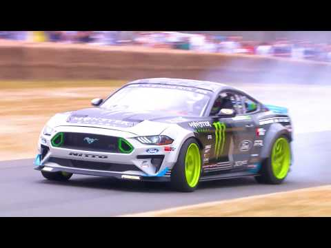 Vaughn Gittin Jr. drifts his Ford Mustang RTR at Festival of Speed 2018
