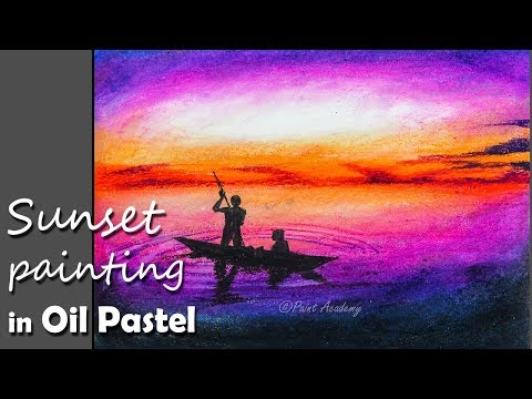Beginners Painting | A Beautiful Sunset in Oil Pastel step by step