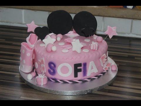 Minnie Maus Torte Fondanttorte Kuchen Kindergeburtstag Minnie Mouse