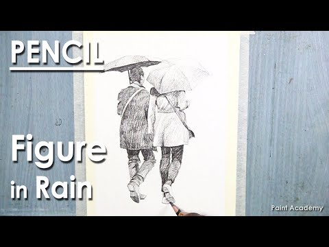 Pencil Sketch : Figure in Rain | Pencil Drawing techniques