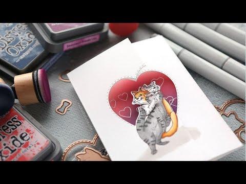 CUDDLY CATS! Art Impressions Twist Ties Card