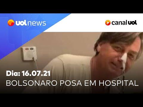 Internado, Bolsonaro posa com paciente e tem evolução em quadro clínico | UOL News (16/07/21)