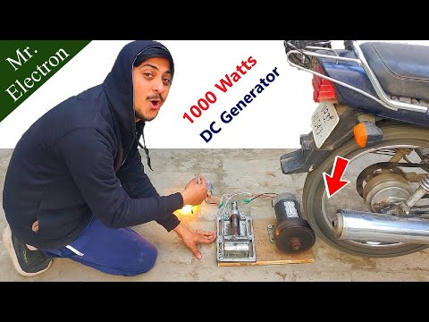 1.5 Hp DC Motor forced at 4000 RPM as 12v Generator using Motor Bike