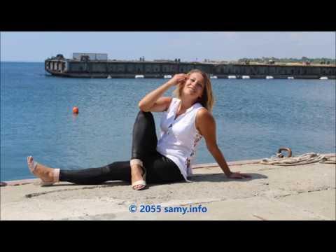 fun at beach with YO in high heels