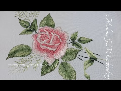 Long and Short Stitches   Silk Rose   Floral Still Life
