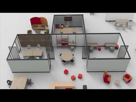Knoll's Rockwell Unscripted office furniture can be reconfigured to meet a company's needs