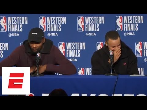 Kevin Durant, Steph Curry dodge question about Klay Thompson's 2016 playoff game vs. Thunder | ESPN