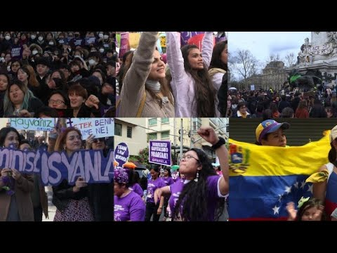 Thousands march around the world on Women's Day
