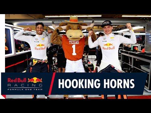 Texas Longhorns Mascot Hook 'Em Meets Daniel Ricciardo and Max Verstappen