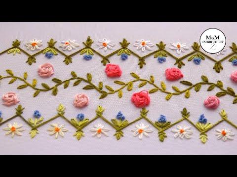 embroidery| Border Design | Rose Stitch  | Вышивка | Дизайн для бордюра