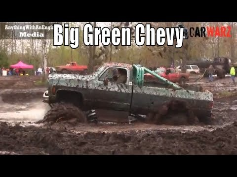 Green Chevy Mega Truck Mud Bogging At Mud Madness Spring Opener 2019