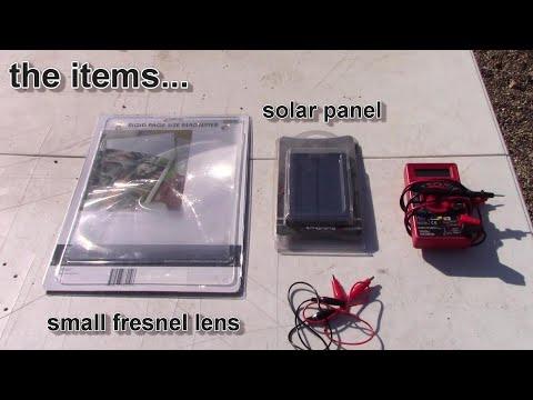 Experiment:  Fresnel Lens + Solar Panel = 300% more power! - triple power - with full power readings