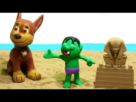 connectYoutube - Hulk And Paw Patrol Playing the Sand Castles - Superhero Babies Cartoons Play Doh Stop Motion video