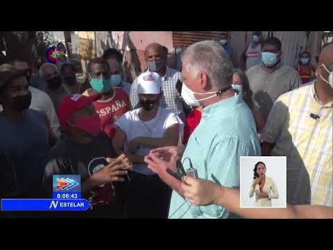 Recorre Presidente de Cuba barrio El Fanguito del capitalino municipio de Plaza de la Revolución