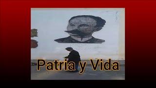 La consigna Patria y vida aparece en la  pared bajo el Busto de José MArtí