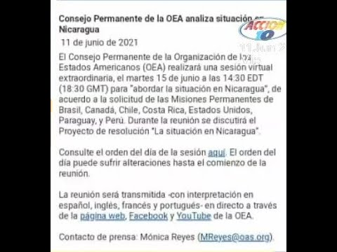 La OEA programó una sesión virtual para abordar la actual situación de Nicaragua